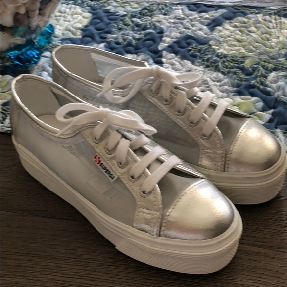 8e26cbb7f0b Superga Women s Mesh Metallic Platform Sneakers. M 5b647313dcf8554a0aab80b5